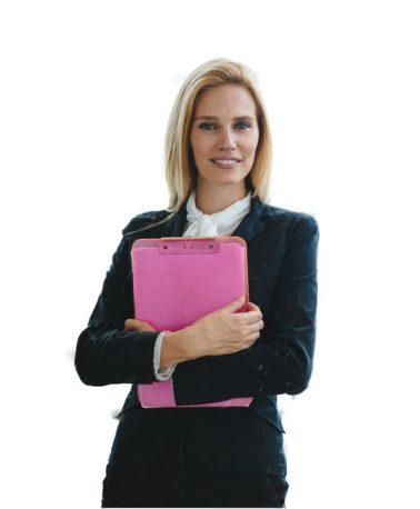 Professional beautiful saleswoman working in car dealership